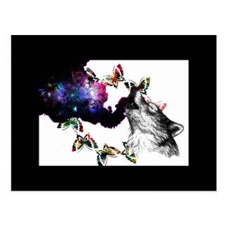 Cartão Postal Borboleta de fumo do lobo floral