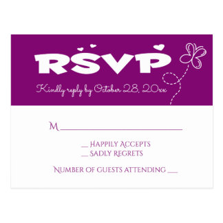 Cartão Postal Borboleta de RSVP & festa de casamento roxas dos