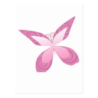 Cartão Postal Borboleta do rosa da consciência do cancro da mama