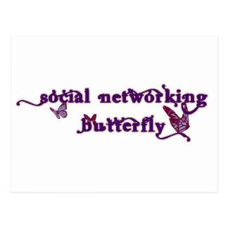 Cartão Postal Borboleta social dos trabalhos em rede