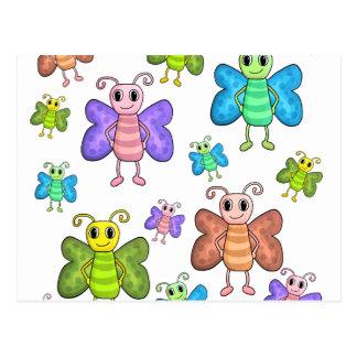 Cartão Postal Borboletas do estilo dos desenhos animados
