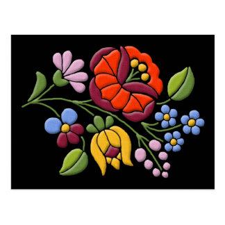 Cartão Postal Bordado de Kalocsa - arte popular húngara