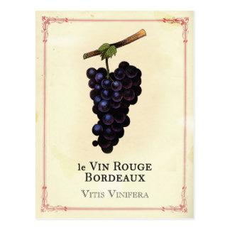 Cartão Postal Bordéus das uvas do vinho tinto