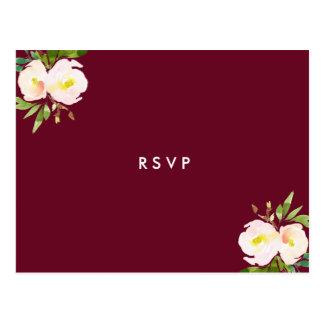 Cartão Postal Borgonha Quinceanera floral elegante RSVP