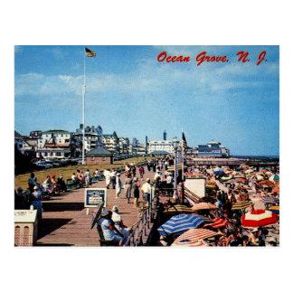 Cartão Postal Bosque do oceano, NJ, Passeio à beira mar, vintage
