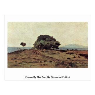 Cartão Postal Bosque pelo mar por Giovanni Fattori