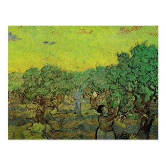 Cartão Postal Bosque verde-oliva com figuras da colheita por Van