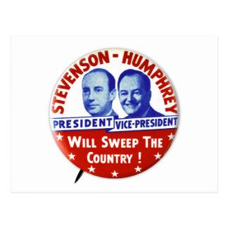 Cartão Postal Botão da campanha de Stevenson Humphrey do vintage