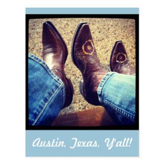 Cartão Postal Botas da vaqueira do vaqueiro de Austin Texas