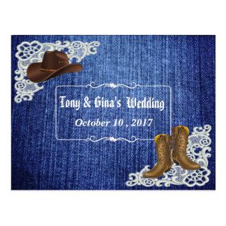 Cartão Postal Botas & laço da sarja de Nimes que Wedding RSVP