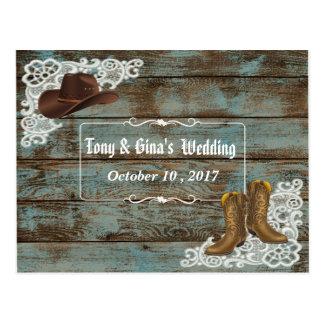 Cartão Postal Botas & laço rústicos que Wedding RSVP