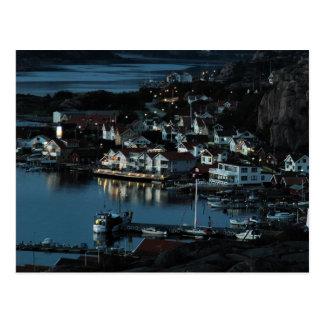 Cartão Postal Bovallstrand, suecia em a noite