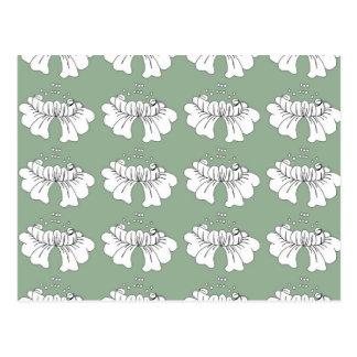 Cartão Postal branco da flor da bolha no verde
