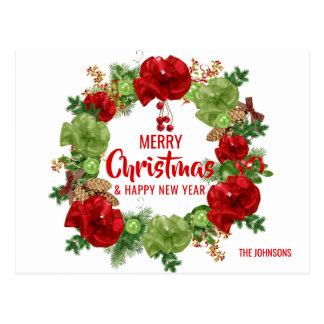 Cartão Postal Branco da grinalda do feliz ano novo do Feliz
