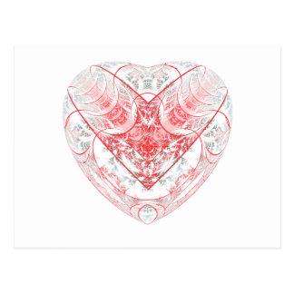 Cartão Postal Branco do coração de sangramento