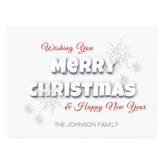 Cartão Postal Branco vermelho do feliz ano novo moderno do Feliz