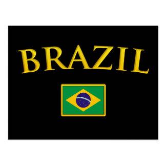 Cartão Postal Brasil dourado