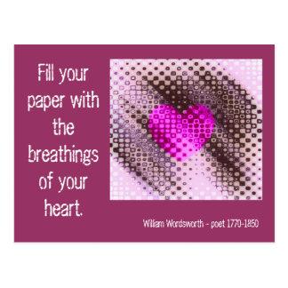 Cartão Postal Breathings das citações do coração