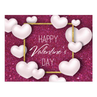 Cartão Postal Brilho branco dos corações do dia dos namorados -
