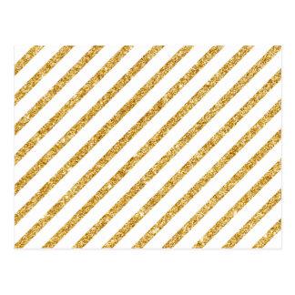 Cartão Postal Brilho do ouro e teste padrão diagonal branco das