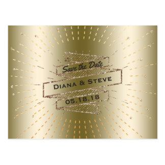 Cartão Postal Brilho Glam do ouro que Wedding economias de   o