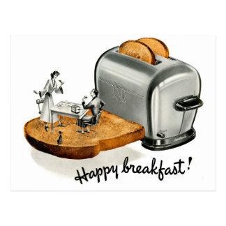 Cartão Postal Brinde 'Breakfast feliz do pequeno almoço do