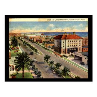 Cartão Postal Broadway, vintage de Corpus Christi Texas