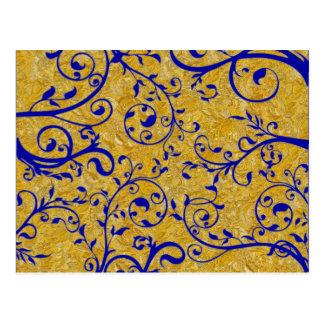Cartão Postal brocado do ouro e do cobalto