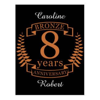 Cartão Postal Bronzeie o oitavo aniversário de casamento 8 anos