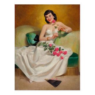 Cartão Postal Brunette with Roses