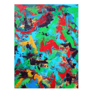 Cartão Postal Brushstrokes abstratos pintados Respingo-Mão