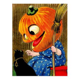 Cartão Postal Bruxa da Abóbora-Cabeça e gato preto