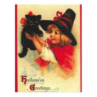 Cartão Postal Bruxa da criança do vintage e gato preto