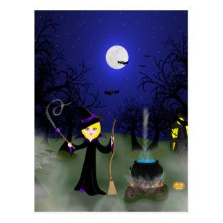 Cartão Postal Bruxa do Dia das Bruxas com caldeirão