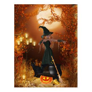 Cartão Postal Bruxa do Dia das Bruxas do outono