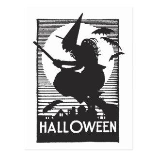 Cartão Postal Bruxa do Dia das Bruxas do Woodcut