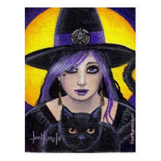 Cartão Postal Bruxa e gato novos