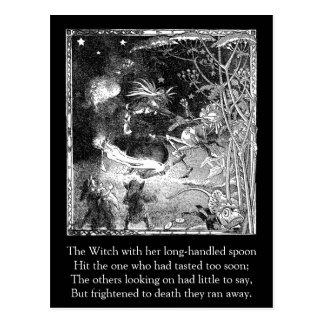 Cartão Postal Bruxa, gnomos e sapo da fuga