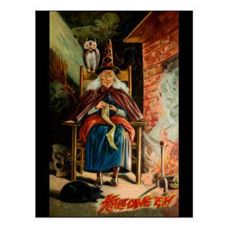 Cartão Postal Bruxa na lareira