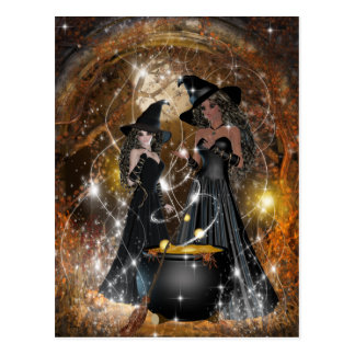 Cartão Postal Bruxas do Dia das Bruxas no preto
