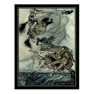 Cartão Postal Bruxas do vôo do Dia das Bruxas Arthur Rackham do