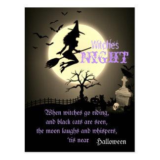 Cartão Postal Bruxas noite, o Dia das Bruxas