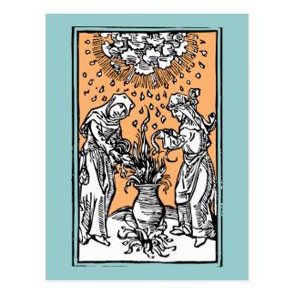 Cartão Postal Bruxas que fabricam cerveja em um caldeirão