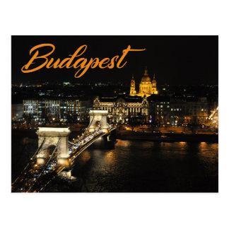 Cartão Postal Budapest, a ponte Chain do castelo de Buda