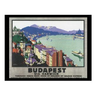 Cartão Postal Budapest através do poster de viagens de