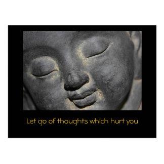 Cartão Postal Buddha delicado enfrenta a escultura de pedra