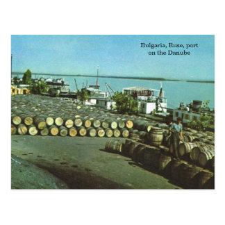 Cartão Postal Bulgária, Ruse, porto no Danúbio