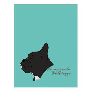 Cartão Postal Bulldog francês cabeça silhueta