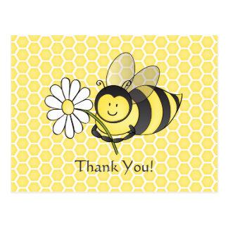 Cartão Postal Bumble a abelha com obrigado da margarida você
