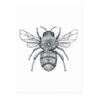 Cartão Postal Bumble o tatuagem da mandala da abelha